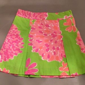 Lilly Pulitzer Girls Skirt Pink/Green Pleats Sz 12